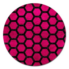 Hexagon2 Black Marble & Pink Leather Magnet 5  (round) by trendistuff