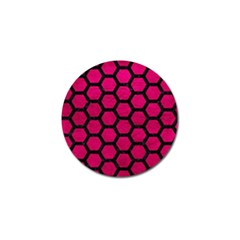 Hexagon2 Black Marble & Pink Leather Golf Ball Marker by trendistuff