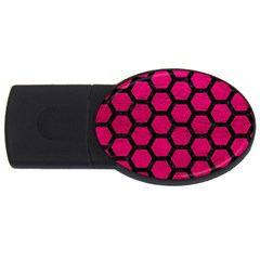 Hexagon2 Black Marble & Pink Leather Usb Flash Drive Oval (2 Gb) by trendistuff