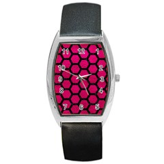 Hexagon2 Black Marble & Pink Leather Barrel Style Metal Watch by trendistuff