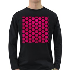 Hexagon2 Black Marble & Pink Leather Long Sleeve Dark T Shirts by trendistuff