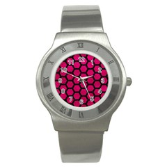 Hexagon2 Black Marble & Pink Leather Stainless Steel Watch by trendistuff