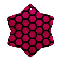 Hexagon2 Black Marble & Pink Leather Snowflake Ornament (two Sides) by trendistuff
