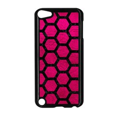 Hexagon2 Black Marble & Pink Leather Apple Ipod Touch 5 Case (black) by trendistuff