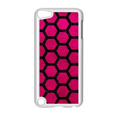 Hexagon2 Black Marble & Pink Leather Apple Ipod Touch 5 Case (white) by trendistuff