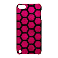 Hexagon2 Black Marble & Pink Leather Apple Ipod Touch 5 Hardshell Case With Stand by trendistuff