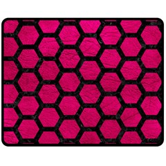 Hexagon2 Black Marble & Pink Leather Double Sided Fleece Blanket (medium)  by trendistuff