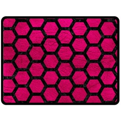 Hexagon2 Black Marble & Pink Leather Double Sided Fleece Blanket (large)  by trendistuff