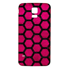 Hexagon2 Black Marble & Pink Leather Samsung Galaxy S5 Back Case (white) by trendistuff
