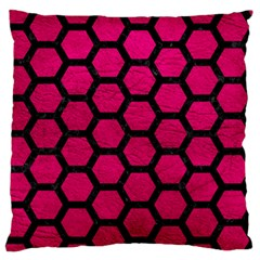 Hexagon2 Black Marble & Pink Leather Standard Flano Cushion Case (one Side) by trendistuff