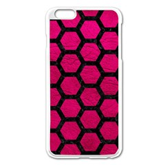Hexagon2 Black Marble & Pink Leather Apple Iphone 6 Plus/6s Plus Enamel White Case by trendistuff