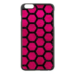 Hexagon2 Black Marble & Pink Leather Apple Iphone 6 Plus/6s Plus Black Enamel Case by trendistuff