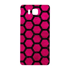 Hexagon2 Black Marble & Pink Leather Samsung Galaxy Alpha Hardshell Back Case by trendistuff