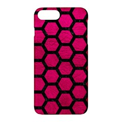 Hexagon2 Black Marble & Pink Leather Apple Iphone 7 Plus Hardshell Case by trendistuff