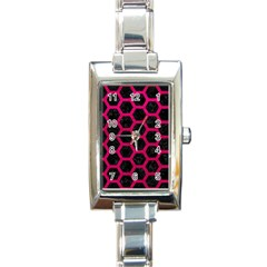 Hexagon2 Black Marble & Pink Leather (r) Rectangle Italian Charm Watch by trendistuff
