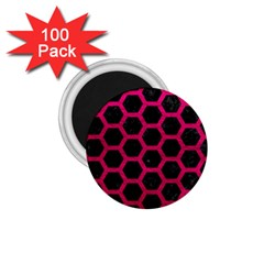 Hexagon2 Black Marble & Pink Leather (r) 1 75  Magnets (100 Pack)  by trendistuff