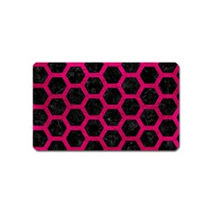 Hexagon2 Black Marble & Pink Leather (r) Magnet (name Card) by trendistuff