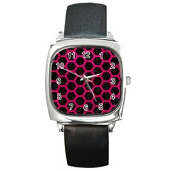 Hexagon2 Black Marble & Pink Leather (r) Square Metal Watch by trendistuff