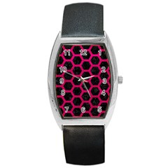 Hexagon2 Black Marble & Pink Leather (r) Barrel Style Metal Watch by trendistuff
