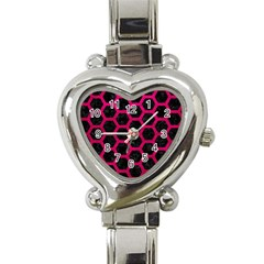 Hexagon2 Black Marble & Pink Leather (r) Heart Italian Charm Watch by trendistuff
