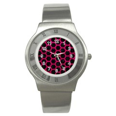 Hexagon2 Black Marble & Pink Leather (r) Stainless Steel Watch by trendistuff