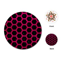 Hexagon2 Black Marble & Pink Leather (r) Playing Cards (round)  by trendistuff