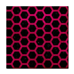 Hexagon2 Black Marble & Pink Leather (r) Face Towel by trendistuff