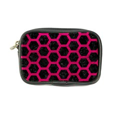 Hexagon2 Black Marble & Pink Leather (r) Coin Purse by trendistuff