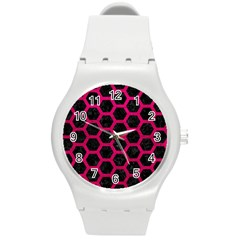 Hexagon2 Black Marble & Pink Leather (r) Round Plastic Sport Watch (m) by trendistuff