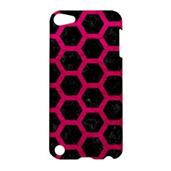 Hexagon2 Black Marble & Pink Leather (r) Apple Ipod Touch 5 Hardshell Case by trendistuff
