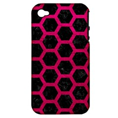 Hexagon2 Black Marble & Pink Leather (r) Apple Iphone 4/4s Hardshell Case (pc+silicone) by trendistuff