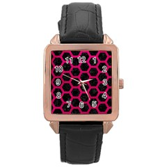 Hexagon2 Black Marble & Pink Leather (r) Rose Gold Leather Watch  by trendistuff