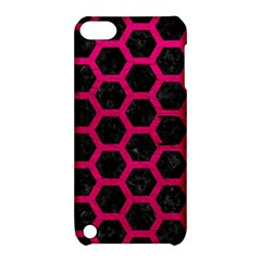 Hexagon2 Black Marble & Pink Leather (r) Apple Ipod Touch 5 Hardshell Case With Stand by trendistuff