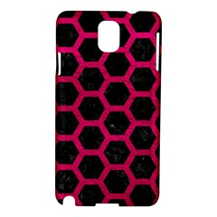Hexagon2 Black Marble & Pink Leather (r) Samsung Galaxy Note 3 N9005 Hardshell Case by trendistuff