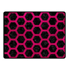 Hexagon2 Black Marble & Pink Leather (r) Double Sided Fleece Blanket (small)  by trendistuff