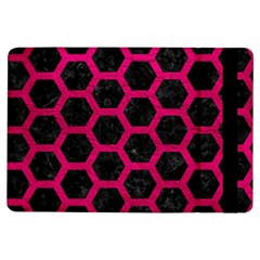 Hexagon2 Black Marble & Pink Leather (r) Ipad Air Flip by trendistuff