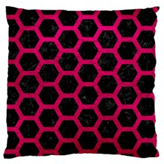 Hexagon2 Black Marble & Pink Leather (r) Large Flano Cushion Case (two Sides) by trendistuff