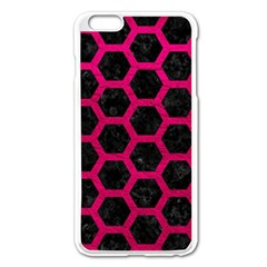 Hexagon2 Black Marble & Pink Leather (r) Apple Iphone 6 Plus/6s Plus Enamel White Case by trendistuff