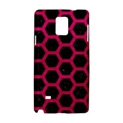 Hexagon2 Black Marble & Pink Leather (r) Samsung Galaxy Note 4 Hardshell Case by trendistuff