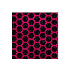Hexagon2 Black Marble & Pink Leather (r) Satin Bandana Scarf by trendistuff