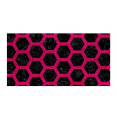 Hexagon2 Black Marble & Pink Leather (r) Satin Wrap by trendistuff