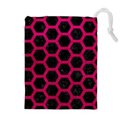 Hexagon2 Black Marble & Pink Leather (r) Drawstring Pouches (extra Large) by trendistuff