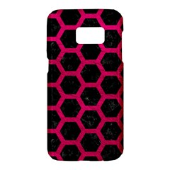 Hexagon2 Black Marble & Pink Leather (r) Samsung Galaxy S7 Hardshell Case  by trendistuff