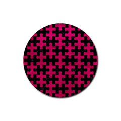 Puzzle1 Black Marble & Pink Leather Rubber Coaster (round)  by trendistuff