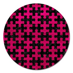 Puzzle1 Black Marble & Pink Leather Magnet 5  (round) by trendistuff