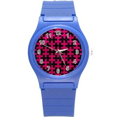 Puzzle1 Black Marble & Pink Leather Round Plastic Sport Watch (s) by trendistuff
