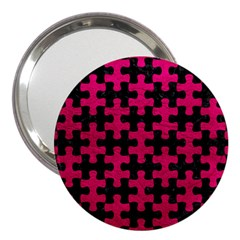 Puzzle1 Black Marble & Pink Leather 3  Handbag Mirrors by trendistuff