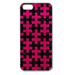 Puzzle1 Black Marble & Pink Leather Apple Seamless Iphone 5 Case (clear) by trendistuff