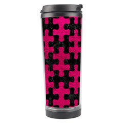 Puzzle1 Black Marble & Pink Leather Travel Tumbler by trendistuff