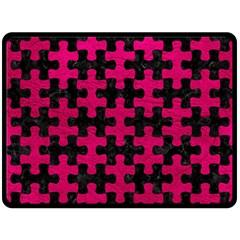 Puzzle1 Black Marble & Pink Leather Double Sided Fleece Blanket (large)